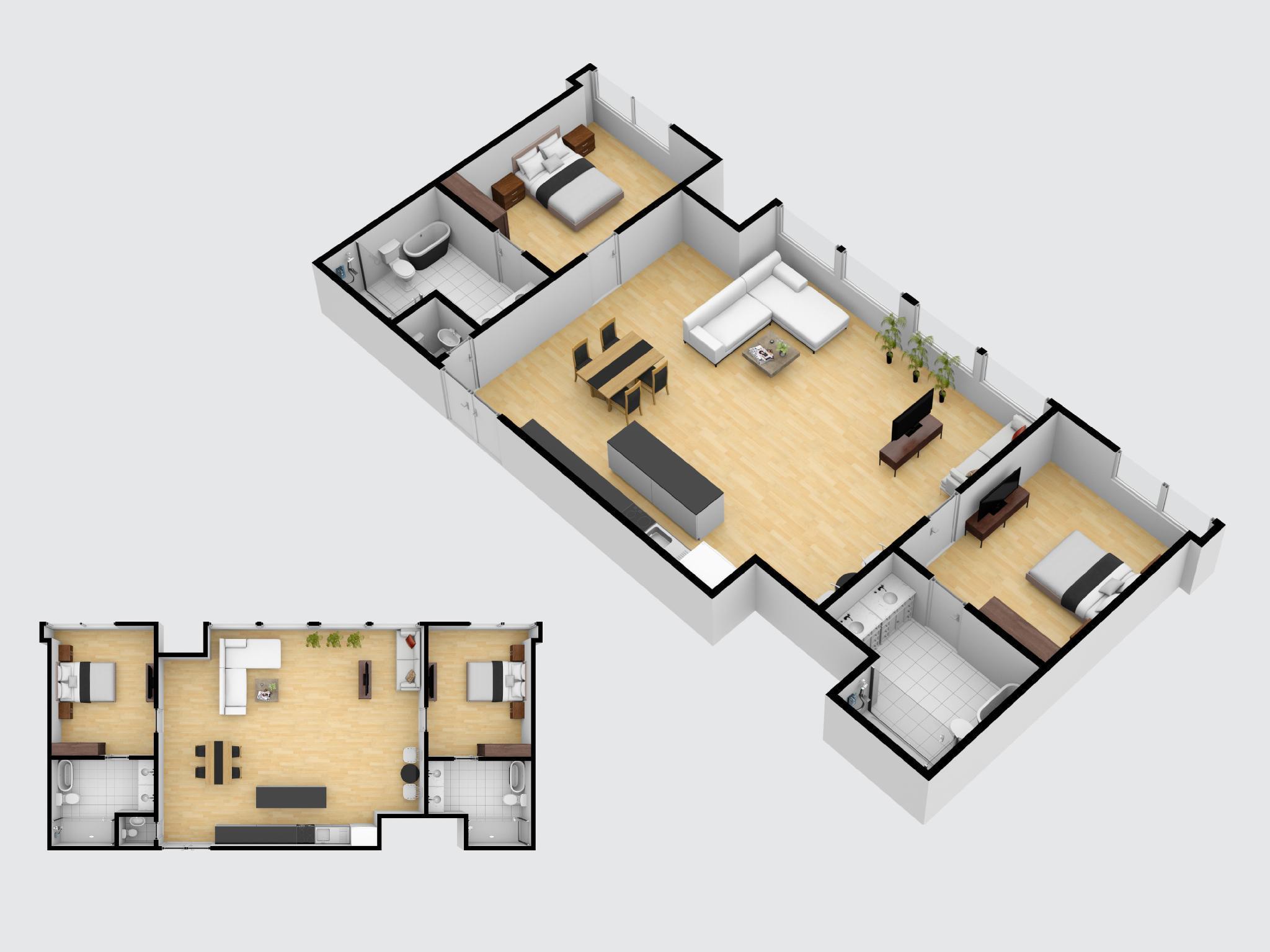 Clean and Huge 1 Bedroom private space อพาร์ตเมนต์ 2 ห้องนอน 2 ห้องน้ำส่วนตัว ขนาด 200 ตร.ม. – ป่าตอง