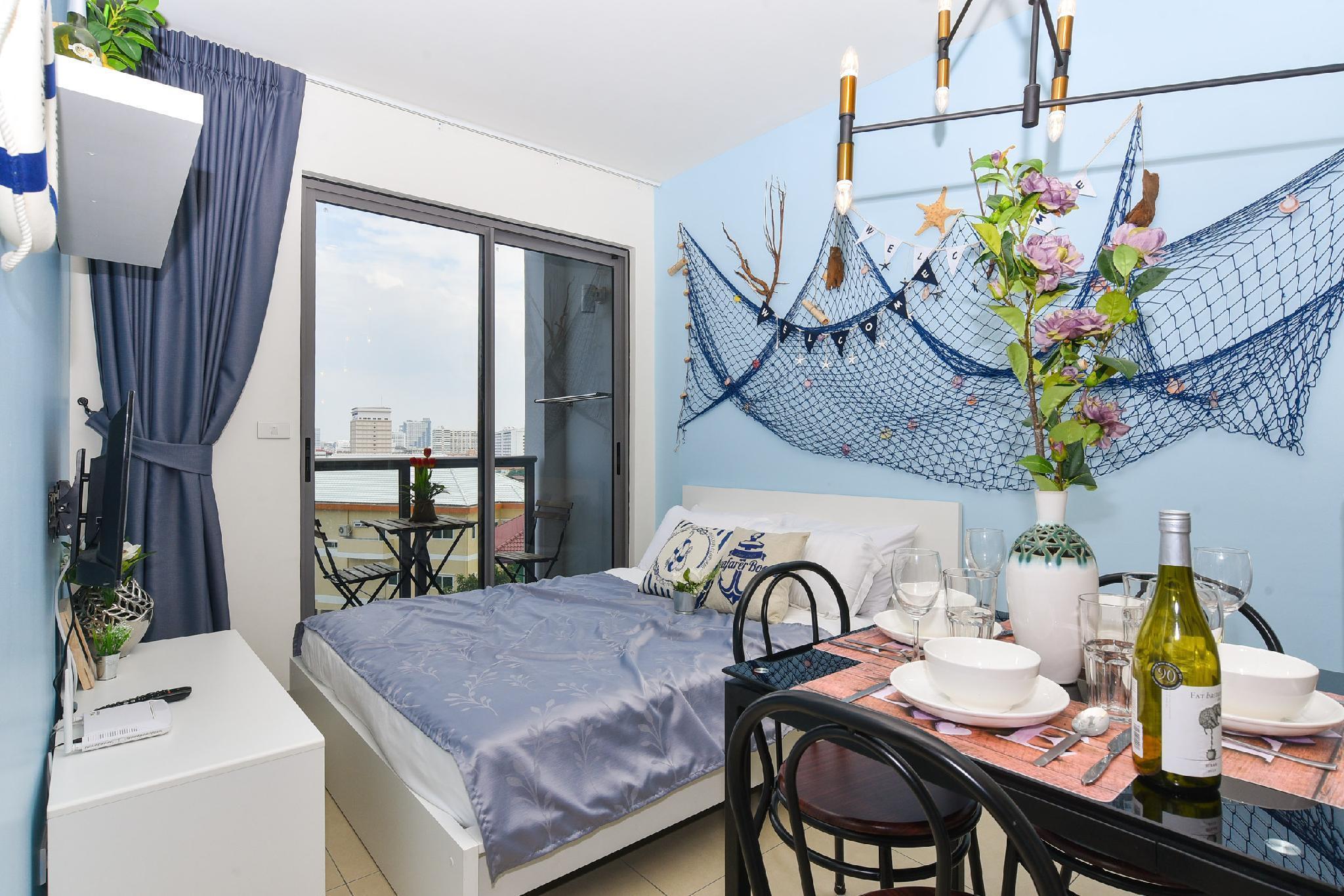 1-4PAX Double Bed Luxury 10min Balihai [B-Beach] อพาร์ตเมนต์ 1 ห้องนอน 1 ห้องน้ำส่วนตัว ขนาด 35 ตร.ม. – พัทยาใต้