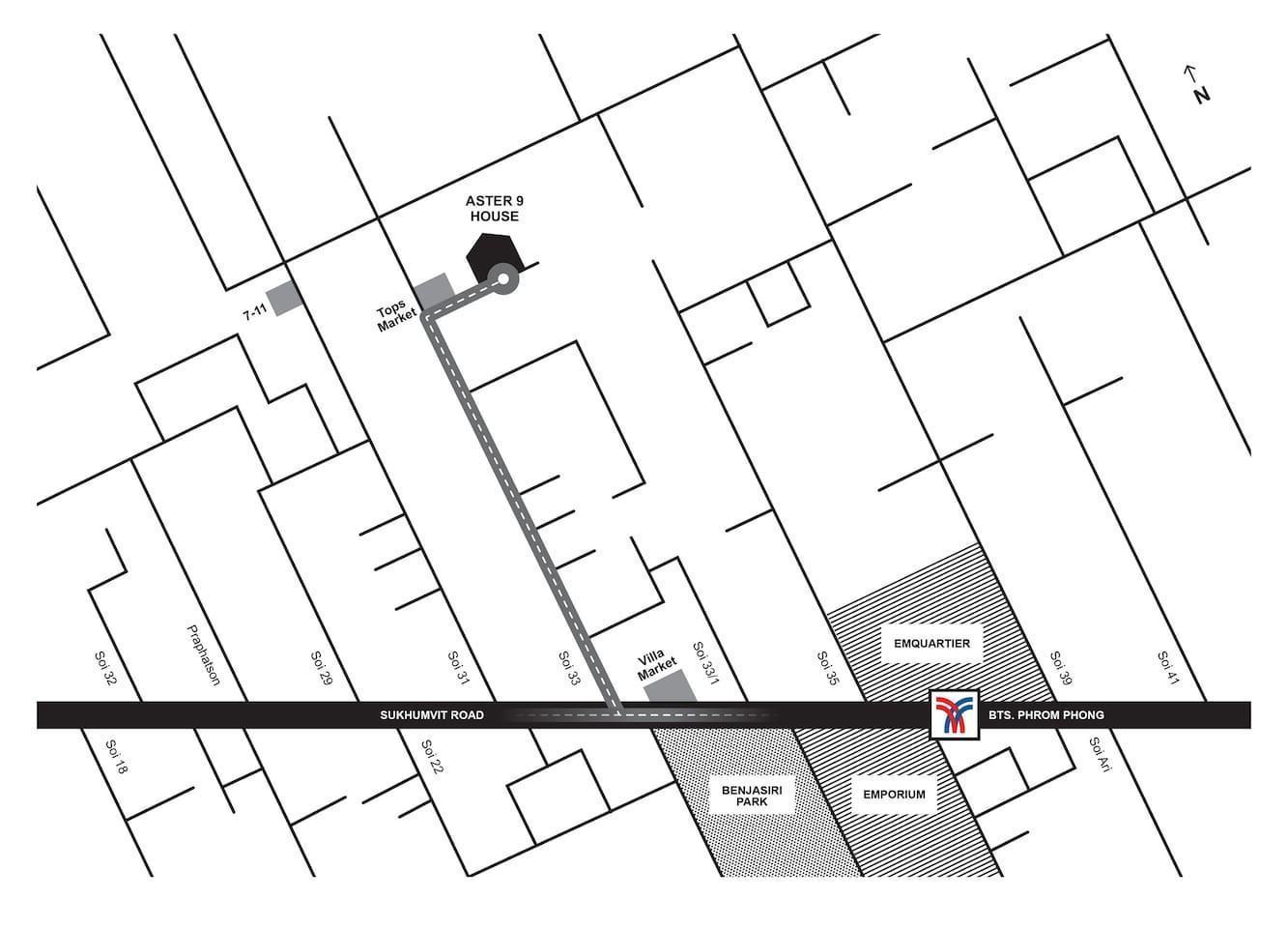 Aster 9 House, No.1, Sukhumvit 33 1 ห้องนอน 1 ห้องน้ำส่วนตัว ขนาด 50 ตร.ม. – สุขุมวิท